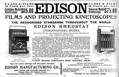 Periódico con noticias del Kinetófono de Thomas A. Edison
